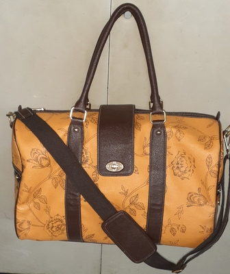 Yellow & brown floral printed  pu duffel bag