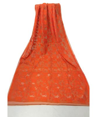 Orange Bengal Cotton Handloom Jamdani saree with blouse