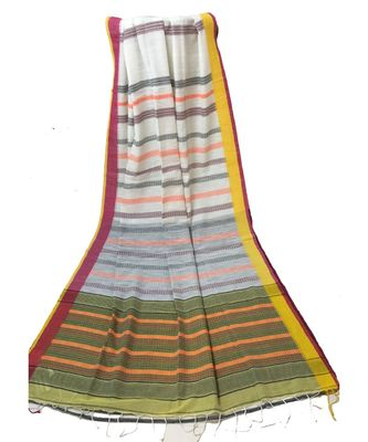 White Bengal Cotton Handloom Jacquard saree with blouse