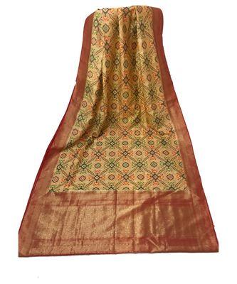 Peach Banarasi Cot Silk saree with blouse with zari saree with blouse