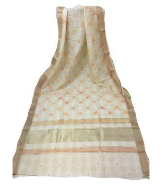 Cream Banarasi Cot Silk saree with blouse with zari saree with blouse