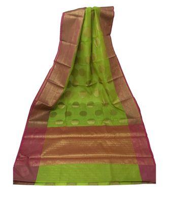 Green Banarasi Cot Silk saree with blouse with zari saree with blouse