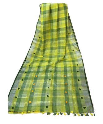 Green Bengal Linen Handloom with zari saree with blouse