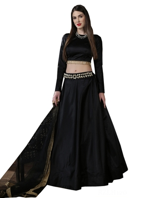Black embroidered  satin unstitched lehenga