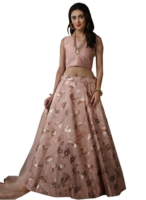 Peach Embroidered  Silk Unstitched Lehenga