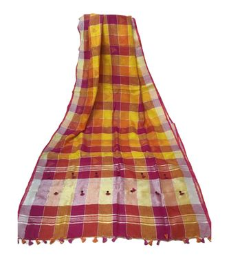 multicolor Bengal Linen Handloom with Kantha Emb saree with blouse