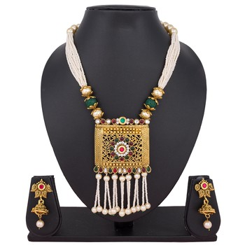 Gold emerald necklaces