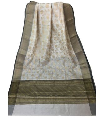 Off White Banarasi Cot Silk saree with blouse with zari saree with blouse