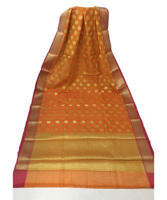 Orange Banarasi Cot Silk saree with blouse with zari saree with blouse