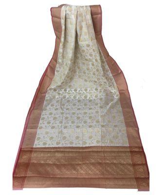 Off White Banarasi Cot Silk saree with blouse with zari saree with blouse