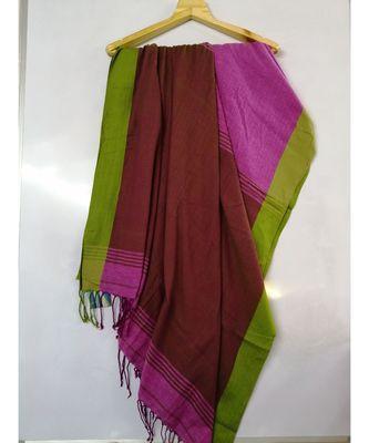 Pink Bengal Cotton Handloom saree with blouse