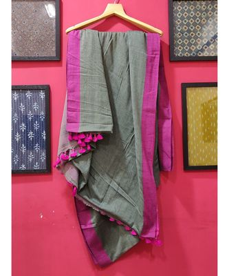 Grey Bengal Cotton Handloom saree with blouse