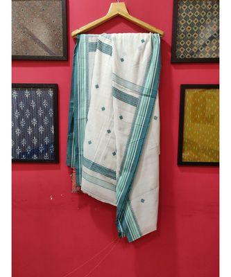 White Bengal Cotton Jamdaani saree with blouse