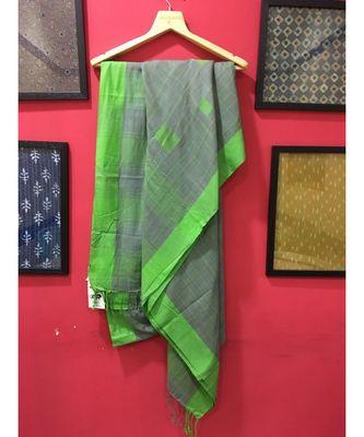 Grey Bengal cotton Handloom saree with blouse
