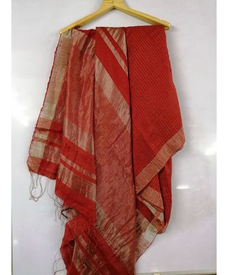 Red Bengal Matka Zari Handloom saree with blouse