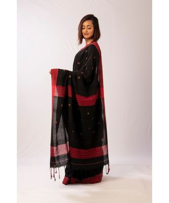 Black Bengal Cotton Matka Jamdaani saree with blouse