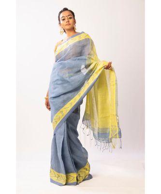 Blue Bengal Linen Jamdaani saree with blouse