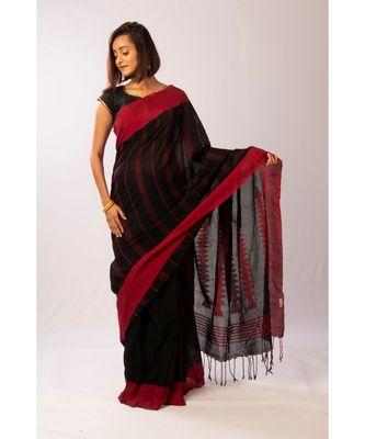 Black Bengal Cotton Jamdaani saree with blouse