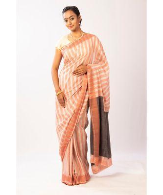 Peach Bengal Cotton Jamdaani saree with blouse