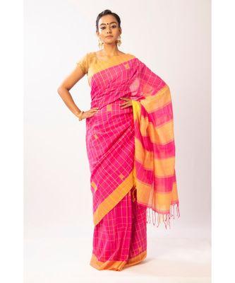 PInk Bengal Cotton Jamdaani saree with blouse
