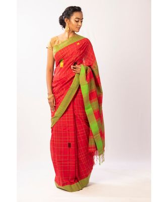 Red Bengal Cotton Jamdaani saree with blouse