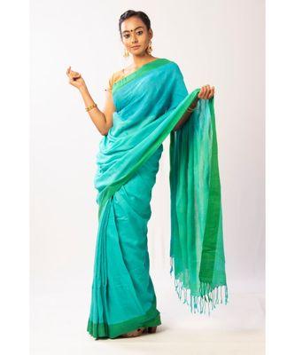Aqua Bengal cotton Handloom saree with blouse