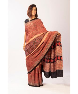 Brown Modal Ajrakh Printed saree with blouse