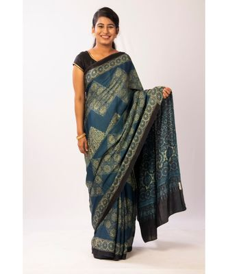 blue Modal Ajrakh Printed saree with blouse
