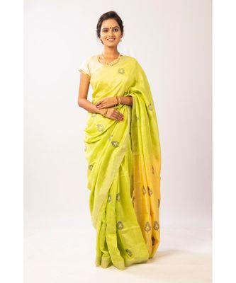 Yellow/ Lime Bengal Matka Jamdaani with zari saree with blouse