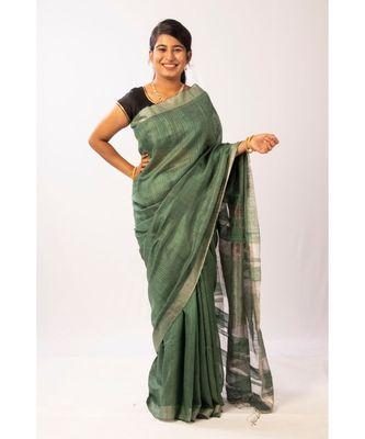 Green Bengal Matka Zari Handloom saree with blouse