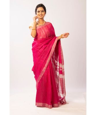 Pink Bengal Matka Zari Handloom saree with blouse