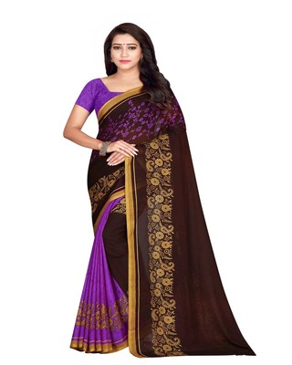 Purple printed faux georgette saree with blouse