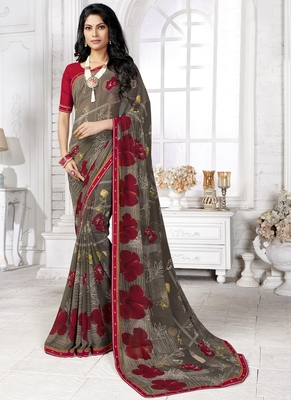 Multicolor printed georgette saree with blouse