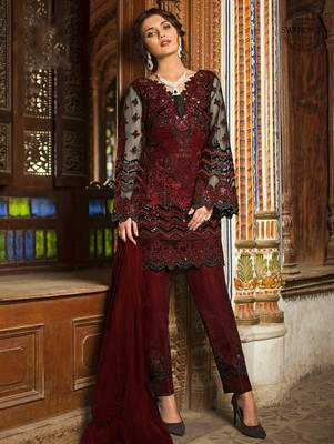 Maroon Designer Wedding Wear Pakistani Suit