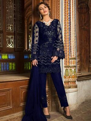 Navy Blue Designer Wedding Wear Pakistani Suit