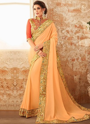light peach plain georgette saree with blouse