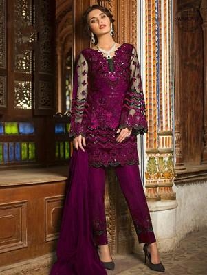 Purple Designer Wedding Wear Pakistani Suit