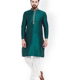 Green Mens Jacquard Silk Kurta Pyjama