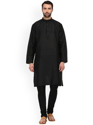 black MENS SOLID SILK KURTA PYJAMA