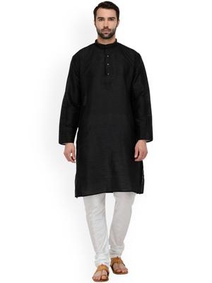 Black Mens Solid Silk Kurta Pyjama