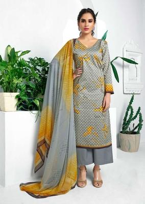 Grey printed cotton silk salwar