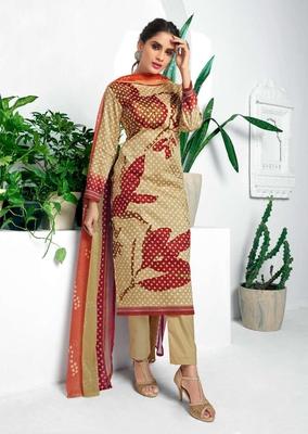 Beige printed cotton silk salwar