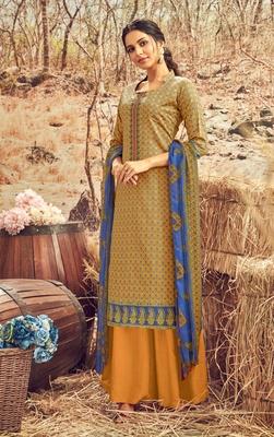 Brown printed cotton silk salwar