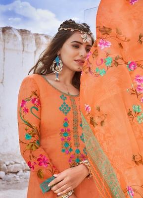 Orange embroidered cotton silk salwar