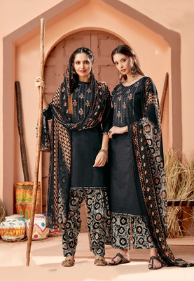 Black printed cambric salwar