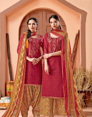 Red printed cambric salwar