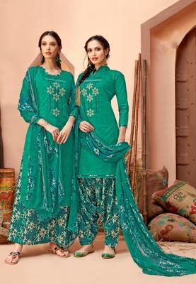 Green printed cambric salwar