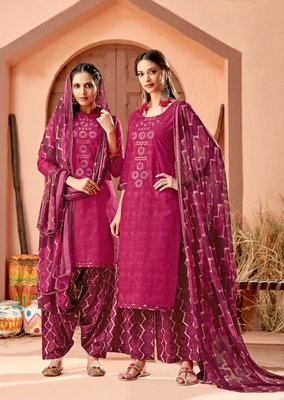 Purple printed cambric salwar