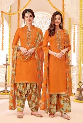 Orange printed cotton silk salwar