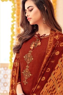 Red printed cotton silk salwar